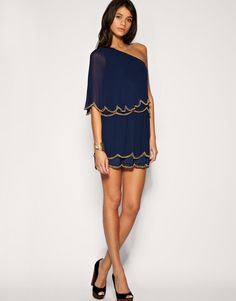 ASOS   ASOS One Shoulder Dress with Scalloped Hem and Bead Embellishment at ASOS