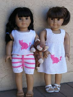 """Our doll knitting pattern fits any 18"""" dolls like American Girl dolls and is for Intermediate Knitters. Your favorite dolls will love these outfits for the summer. This knitting doll pattern includes easy to follow graph and directions for dress, shorts and sleeveless top. All our knitting patterns for dolls are sent as downloadable files in pdf format."""