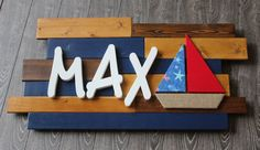 Max Wooden Name Sign Wooden Nursery Decor by CucumberAppleStudio #nurseryletters #modernnursery #nurseryideas #nauticalnursery