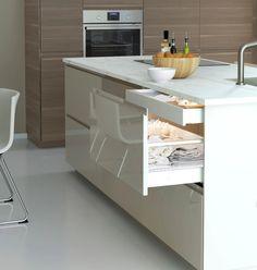 Luxury Kitchen Design, Kitchen Room Design, Living Room Kitchen, Kitchen Layout, Basement Kitchen, Kitchen Shelves, Kitchen Pantry, Kitchen Reno, Voxtorp Ikea