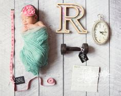 Newborn Statistics Photo by Lightwork Photography tape measure, hand weight, clock, initial, letter, calendar, time of birth, birthdate, stats, baby girl, pink, teal, mint