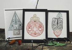 Christmas Globes, Three Little, Paper Dimensions, Linocut Prints, Paper Gifts, Line Art, Recycling, Ink