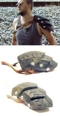 Wasteland Champion Motorcycle Tire Pauldron -- Don't know what I'd wear this with but I'd wear this the battle every day! :D Informations About Wasteland Champion Tire Armor by swanboy on DeviantArt Zombie Survival Gear, Apocalypse Survival, Zombie Apocalypse Weapons, Survival Tips, Post Apocalyptic Costume, Post Apocalyptic Fashion, Post Apocalyptic Clothing, Fallout Cosplay, Costume Carnaval