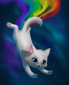 Nyan Cat by leamatte Nyan Cat, Warrior Cats, I Love Cats, Cool Cats, Kittens Cutest, Cats And Kittens, Pet Anime, Kitten Drawing, Sleepy Kitten