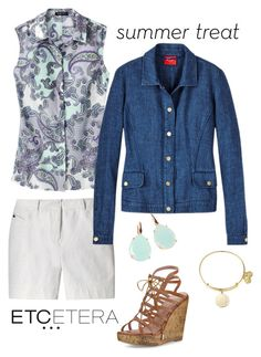 """""""Etcetera: NAVIGATOR navy linen jean-style jacket with SUMMER blouse and ANGELICA white metallic shorts."""" by etcetera-nyc ❤ liked on Polyvore featuring Etcetera, Joie, Rina Limor, Alex and Ani, etceteracollection, etceteranyc and summer2016"""