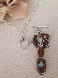 Pale Blue & Brown Beaded Dangle Necklace. One chain so many options. Many Beaded Dangles available.
