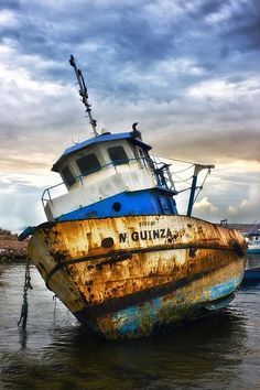 Rusty Old boats | Boat, ship, clouds, water, reflection, decay, rusty, rust, beauty ...