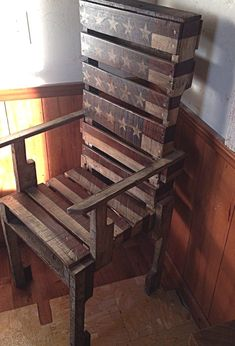 $375 · Patriotic! Beautiful! Rustic! Reclaimed! This Old Captains Chair I made from old pallets I had in my storage. I stained the American Flag onto the chair using a crimson stain for red and an indigo stain for the blue. It is very patriotic and would be a great piece to add to your collection.. Made to order Message me with any questions you have about the chair. Thank you.. #diypallet #palletdecor