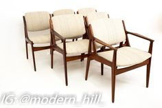 Arne Vodder Elle and Ella Mid Century Teak Dining Chairs - Set of 6 Each chair is 25 wide x 20 deep x 31.5 high with a seat height of 17.5 inches This set is available in what we call Restored Vintage Condition. Upon purchase it is fixed so it's free of watermarks, chips or deep scratches with color loss; as well as thoroughly cleaned - at no extra charge but this takes a bit longer to ship than if you don't choose this option.