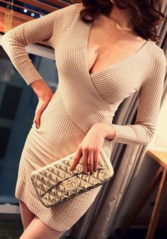 Long Sleeves Knit Dress - Tan - Sexy Plunge Neckline Dress