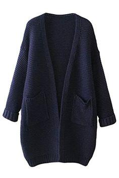 26e7faffd Pink Wind Women s Thick Pockets Open Front Cardigan Sweater Knitwear  PinkWind http   www
