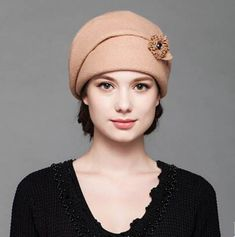 Elegance flower beret hat for women winter warm wool hats