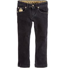 BILLIONAIRE Boys Black Denim Jeans with Wolf Embroidery
