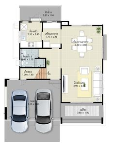 House design plans with 3 bedrooms.House description:Ground Level: Two car parking, Living room, Dining room, Kitchen, reservation Beautiful House Plans, Beautiful Homes, Under Stairs, Home Design Plans, How To Level Ground, Car Parking, Family Room, Bedrooms, Floor Plans
