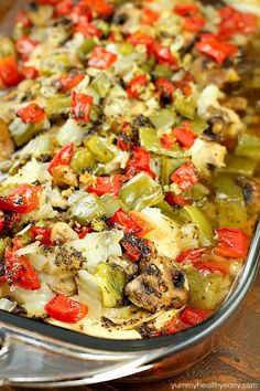 """Baked """"Smothered Chicken"""" may sound weird, but this is an incredibly easy and delicious one-pan, baked chicken dinner recipe that my family loves! It's healthy and high in protein and is low-carb & gluten-free without the side of rice. Super easy and no pre-cooking of the meat, just throw it all in the pan and bake! It comes out juicy and flavorful!"""