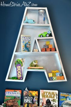 Letter A Bookshelf Tutorial {3M DIY Starts Here} @Home Stories A-Z