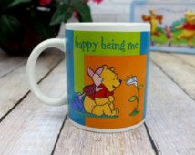 Winnie the Pooh Mug, Happy Being Me, Piglet and Pooh, Pooh Coffee Mug, Mug Lover, Collectible Pooh Mug, Ceramic Pooh Cup, Disney Collectible