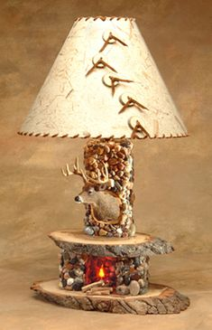 Rustic Fireplace Lamp by Woodland Creek Furniture. Available with Bear, Buck, Fish or Elk Mount.