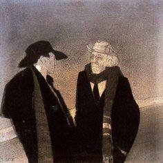 "Xavier Gosé Rovira (1876-1915). ""Noctámbulos o Conversación"". Lápiz, conté, carboncillo, protección, protección sobre cartulina. 15 x 15 cm."
