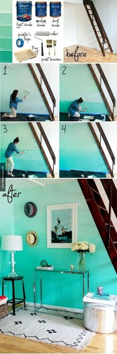 Ombre painted wall