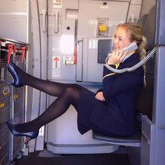 Air Hostess Uniform, Flight Girls, Hot Suit, Black Stockings, Stockings Heels, Pantyhose Legs, Nylons, Rock Outfits, Black Tights