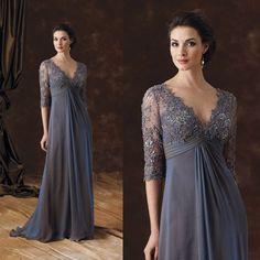 Elegant Lace Appliqued Half Sleeves Chiffon Mother of the Bride Dresses Dark Blue Evening Prom Gowns V Neck Full Length Vestidos
