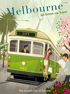 Vintage Poster Melbourne Tram poster by Michael Crampton, via Behance - Illustrations Vintage, Illustrations Posters, Vintage Travel Posters, Vintage Postcards, Retro Posters, Vintage Advertisements, Vintage Ads, Melbourne Tram, Melbourne Australia