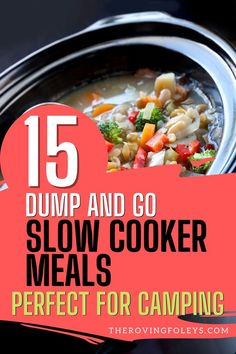 Check out these easy Camping Crockpot Meals for your next RV camping trip! These delicious slow cooker meals for dinner will make your life so simple on the road. From crockpot chicken recipes to beef and pork, cooking in a slow cooker is my favorite way to make camping meals. #campingslowcookermeals #easyslowcookermealsforcamping