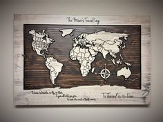 Wood Wall Art World map wall art carved wooden world map