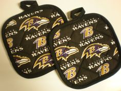 Baltimore Ravens football pot holders by HauteMessThreads on Etsy,
