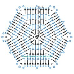 Hexagon Crochet Chart Pattern created using the HookinCrochet� Crochet Symbols Font Software