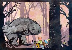 Evening Aisatsu, cut and torn paper art by Patrick Gannon