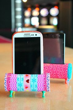 * Easy DIY Phone Holder using decorative tape, toilet paper rolls and push pins!