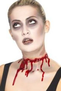 BARBED WIRE SPLIT SCAR - This latex scar is perfect for the zombie trend this Halloween. It looks just like your throat has been slit! Fancy Dress Accessories, Halloween Accessories, Costume Accessories, Halloween Fancy Dress, Halloween Kostüm, Halloween Face Makeup, Halloween Nail Art, Fake Scar, Zombie Makeup