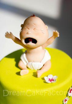 """¡¡Me encanta, qué gracioso!! Y lo más gracioso es que está en la parte superior de una tarta de dos pisos, y en la inferior está el chupete, y al lado un letrero: """"Aquí empiezan los problemas!"""" jajajajaaa"""