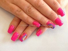 Acrylic nails with pink gel polish and one stroke flowers nail and hair ideas | Nail acrylic nail