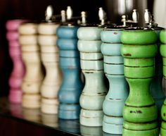 CHOOSE YOUR COLOR  - Painted,Distressed, Wooden Pepper Mill and Salt Shaker -Annie Sloan Chalk Paint - Shabby Chic Kitchen . $25.00, via Etsy.