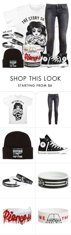 """The Story So Far, Man Overboard, Bring Me The Horizon, Pierce The Veil, and Of Mice & Men"" by ofmiceandvampiraydg ❤ liked on Polyvore featuring Paige Denim and Converse"