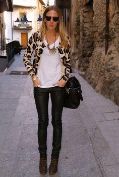 Leopard  , H in Cardigans, Zara  in Pants, Zara  in Boots, Massimo Dutti in Watches, Salsa Jeans in Jewelry