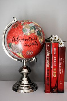 Adventure Awaits - Large, Red Globe, Calligraphy, Travel Quotes, Silver Chrome Base by SimplyGypsyDesigns on Etsy