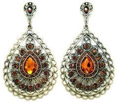 Antique Feathered Teardrop Earrings in Topaz #boho #earrings #topaz