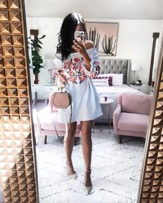 embroidery off the shoulder mini dress + Chloe Nile bag