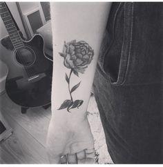 Peony tattoo, wrist tattoo, mono