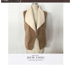 Новый 2015 зимнее пальто замша пальто мода теплый искусственного меха воротник жилетки верхняя одежда браун размер : S XXL купить на AliExpress