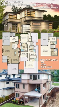 Architectural Designs House Plan 85190MS has 5 beds   4.5 baths   4,100+ square feet of heated living space. Ready when you are. Where do YOU want to build? #85190ms #adhouseplans #architecturaldesigns #houseplan #architecture #newhome #newconstruction #newhouse #homedesign #dreamhouse #homeplan #architecture #architect #houses #modern #northwest
