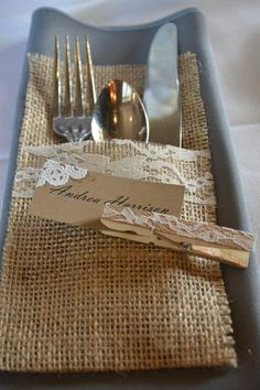 Adorable burlap and lace place settings on etsy
