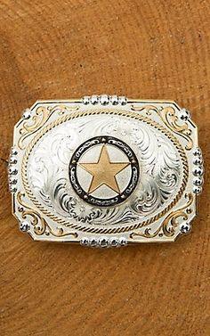 94b3fd08379 Montana Silversmiths Two Tone Cowboy Cameo Antiqued Star 3 X 4 Boucles