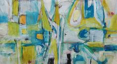 Large Abstract, art, Artwork, painting contemporary, modern abstract painting, from Lori Mirabelli Blue yellow green