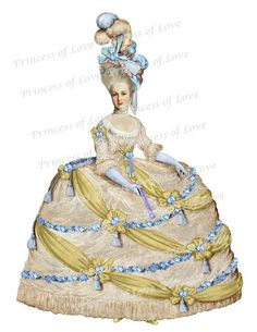 Marie Antoinette golden gown queen of France by PRINCESSofLOVE