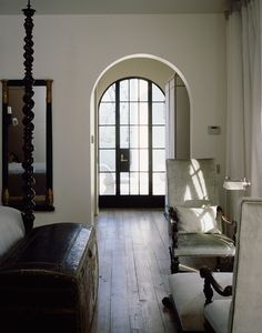 bedroom, arched window